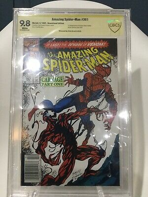 Amazing SpiderMan 361 CBCS 9.8 SS Stan Lee 1st Carnage HTF Newsstand Venom movie
