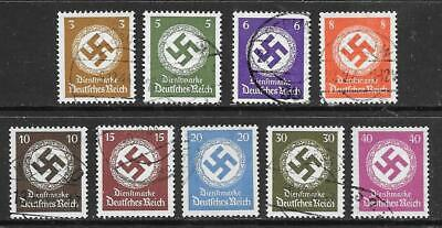 GERMANY - 1942 Officials (No Wmk.) - Part Set of 9, Used.  Cat £190