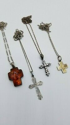 Vintage Sterling Silver Cross Pendants with Chains
