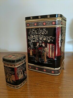 Vintage Retro Large Japanese Design Tea Caddy & Small Metal Storage Spice Tin