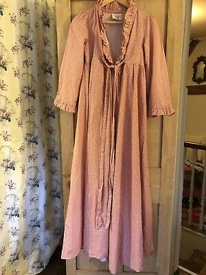Laura Ashley Vintage Made In Wales 70's Regency Georgian Dressing Gown Dress 14