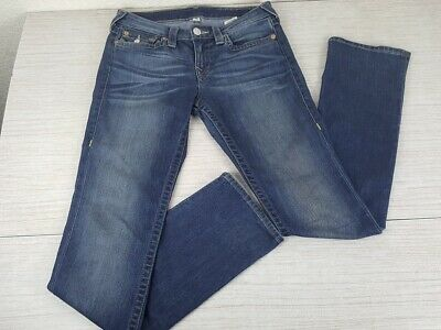 "Womens True Religion Slim Straight Low Rise Long Blue Jeans 29"" Waist Stretch"