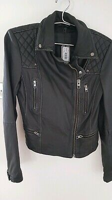 All Saints Woman's Cargo Biker Black/Grey Leather Jacket Size 10 New with Tags