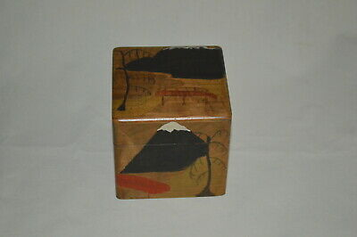 Tea Caddy - Wooden Cube   Art Deco (1938)   Treen Collectable, Hand Painted