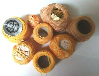 Variegated yellow/orange crochet cotton Various sized balls & shades 8 balls