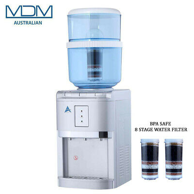 Water Cooler Bench Top Dispenser With Free 2 X 8 Stage Filter Purifier BPA Safe