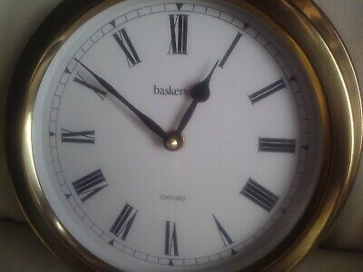 Brass Quartz Ships Clock,Baskerville Oxford, Used.