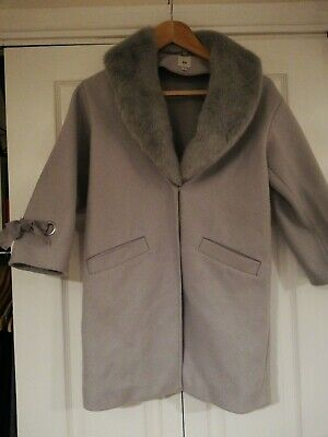 Girls Aged 9 Smart Fur Collared Coat Grey River Island