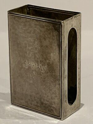 TIFFANY & CO STERLING SILVER ARTS & CRAFTS PLANISHED MATCH CASE HOLDER, 6cm HIGH