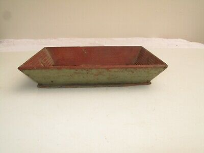 Antique Primitive Wooden Knife Box Utility Carrier Red & Green Paint Aafa