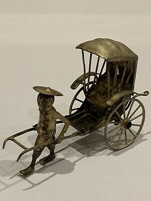 CHARMING ANTIQUE CHINESE EXPORT SILVER RICKSHAW, IMPRESSED MARKS, 8cm LONG