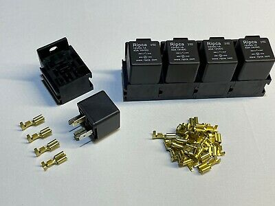 5 x 40 Amp 4 Pin Relays with holders and terminals