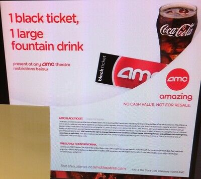 AMC Theaters 1 Black Ticket, 1 Drink, 1 popcorn (PURCHASE LIMIT 2)