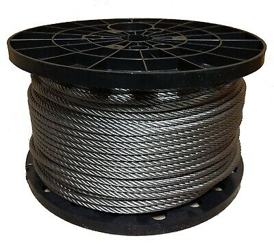 """New Galvanized Aircraft Cable Wire Rope 3/32"""" 7x7- 500 ft Trapping Cable"""