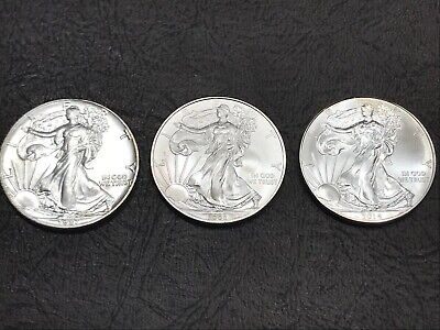 Lot of (3) 1987,2008,2014 American Eagle Silver Dollars $1 Bullion Coins