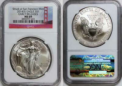 2014 (S) Silver American Eagle NGC MS 69 Early Releases Bay Bridge Slab Holder