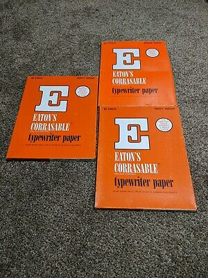 Vintage Eatons Corrasable Typewriter Papers Heavy + Medium Weight 198 Sheets