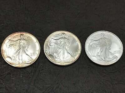 Lot of (3) 1991,1992,2009 American Eagle Silver Dollars $1 Bullion Coins