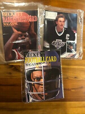 (3) Beckett Magazine #1 First Issues for Basketball, Football, Hockey. MINT