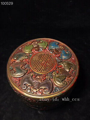 "5.6"" Chinese antique Qing dynasty Qianlong lacquer ware 五福捧寿 jewelry box"