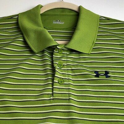 Under Armour Men Polo Pullover Shirt Large L Green White Stripes Polyester Blend