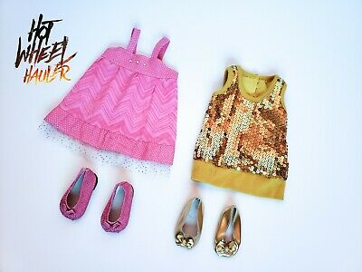 18 Inch Doll Outfit Clothing Dress Lot with Shoes Gold Pink Fits American Girl