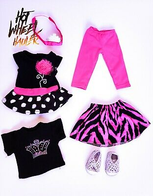 18 Inch Doll Outfit Lot Pink & Black Dress Leggings Shirt Fits American Girl
