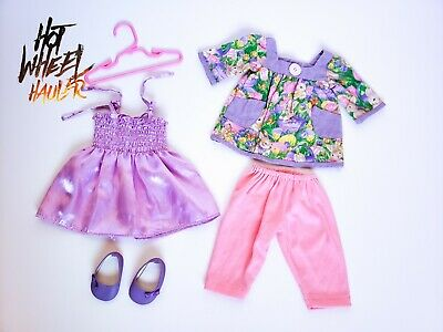 18 Inch Doll Outfit Lot Easter Bunny Purple Pink Dress Top Fits American Girl
