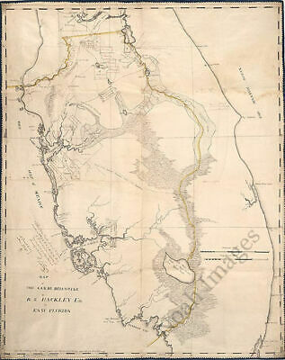 Map of lands in east Florida c1823 repro 24x18