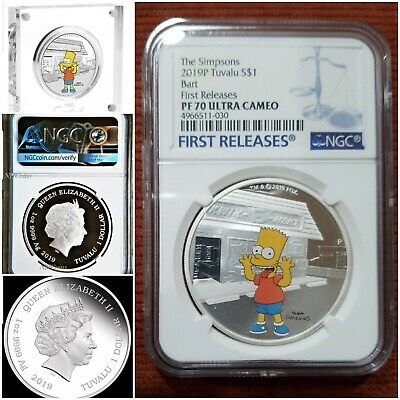 2019 The Simpsons - Bart Simpson - 1 Oz. Silver Coin - Ngc Pf70 First Releases