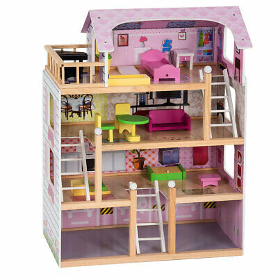 Doll Cottage Dollhouse Kids Wooden House Playset Children Christmas Gift Toy