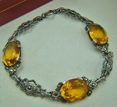 Antique C1930s Art Deco Silver Marcasite Bracelet With Bohemian Faux Topaz Glass