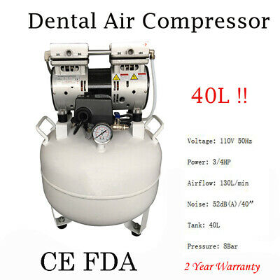 Dental Medical Air Compressor Silent Quiet Noiseless Oilless Compressor 40L FDA