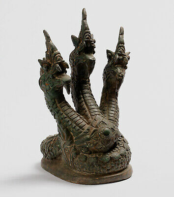 Antique Thai Style Bronze Protective Naga, Snake or Serpent Statue - 25cm/10""