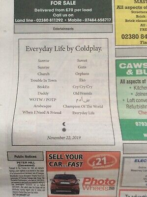 Coldplay Album Announcement UK Newspaper with Advert Everyday Life (New)