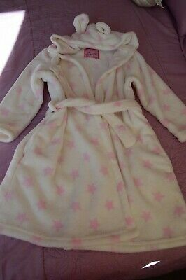Girls Age 7-8 Years Dressing Gown Heart Print With Hood Ex  Clean Condition