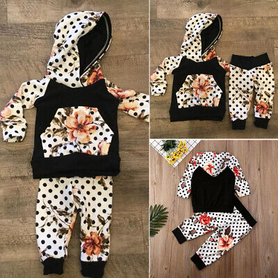 AU Toddler Baby Kids Girl Outfits Clothes Hooded T-shirt Tops Leggings Pants Set