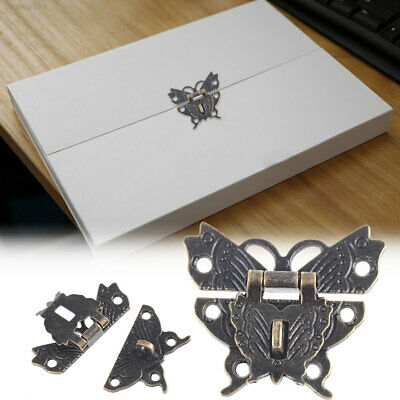 Alloy Lock Catch Hasp Butterfly Buckle Wooden Box Padlock Decor Home Antique