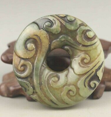 Chinese old natural jade hand-carved statue flower pendant 1.8 inch