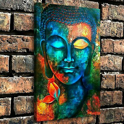 "12""x18""Painted buddha head HD Canvas prints painting Home Decor Wall Picture art"