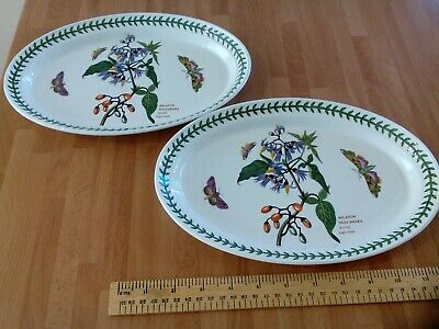 Portmeirion Two Botanic Garden Oval Side Plates Woody Nightshade-one is  cracked