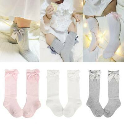 Baby Girls Knee High Socks Cotton Long Bow Stockings Ribbon Cute Kid 0-4 Years U