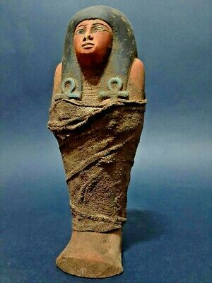 ANCIENT EGYPTIAN ANTIQUES Ushabti (shabti) Wrapped In Linen Stone 1656-1364 BC