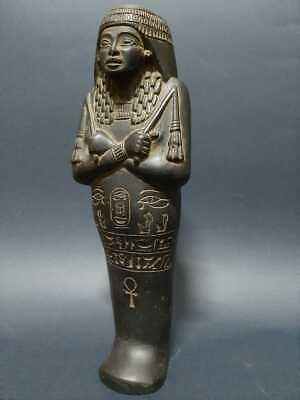 Ancient Egyptian Antiques Ushabti Shabti King Statue Bazalt Stone Bc