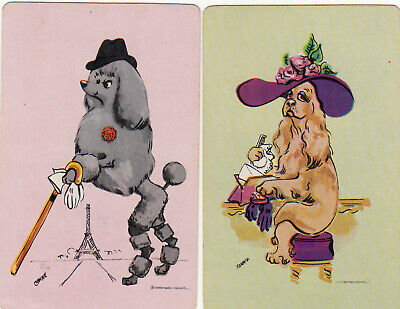 #218 2 (pair) vintage single playing swap cards - Artist Dogs  - JS