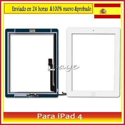 Pantalla Tactil para iPad 4 Touch Screen Blanco +Botón+Mid Frame Digitalizador