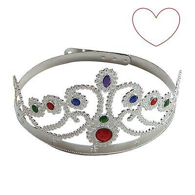 Silver Queens Princess Tiara Crown Fancy Dress Medieval Gothic Jewel Accessory