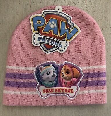 Paw Patrol : Skye & Everest Girls One-Size Fits All Pink Knit Winter Beanie Hat