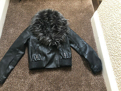 Trendy Girls Candy Couture Black Jacket  With removable Faux fur Collar . Age 9