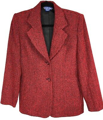 AUSTIN REED Sz 6 Womens Button Blazer Jacket Red/Black HoundsTooth Acrylic Wool